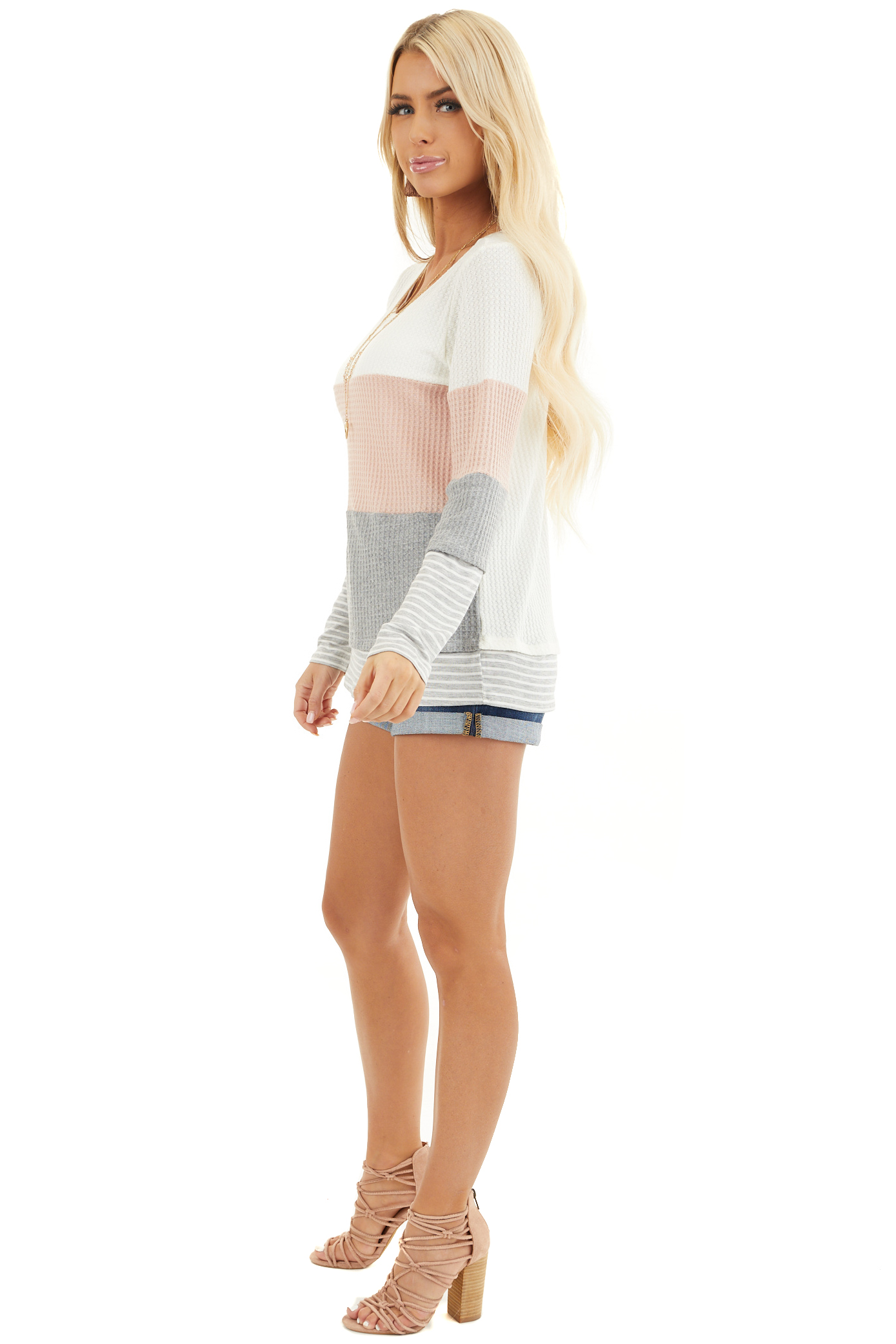 Blush and Heather Grey Colorblock Long Sleeve Top side full body