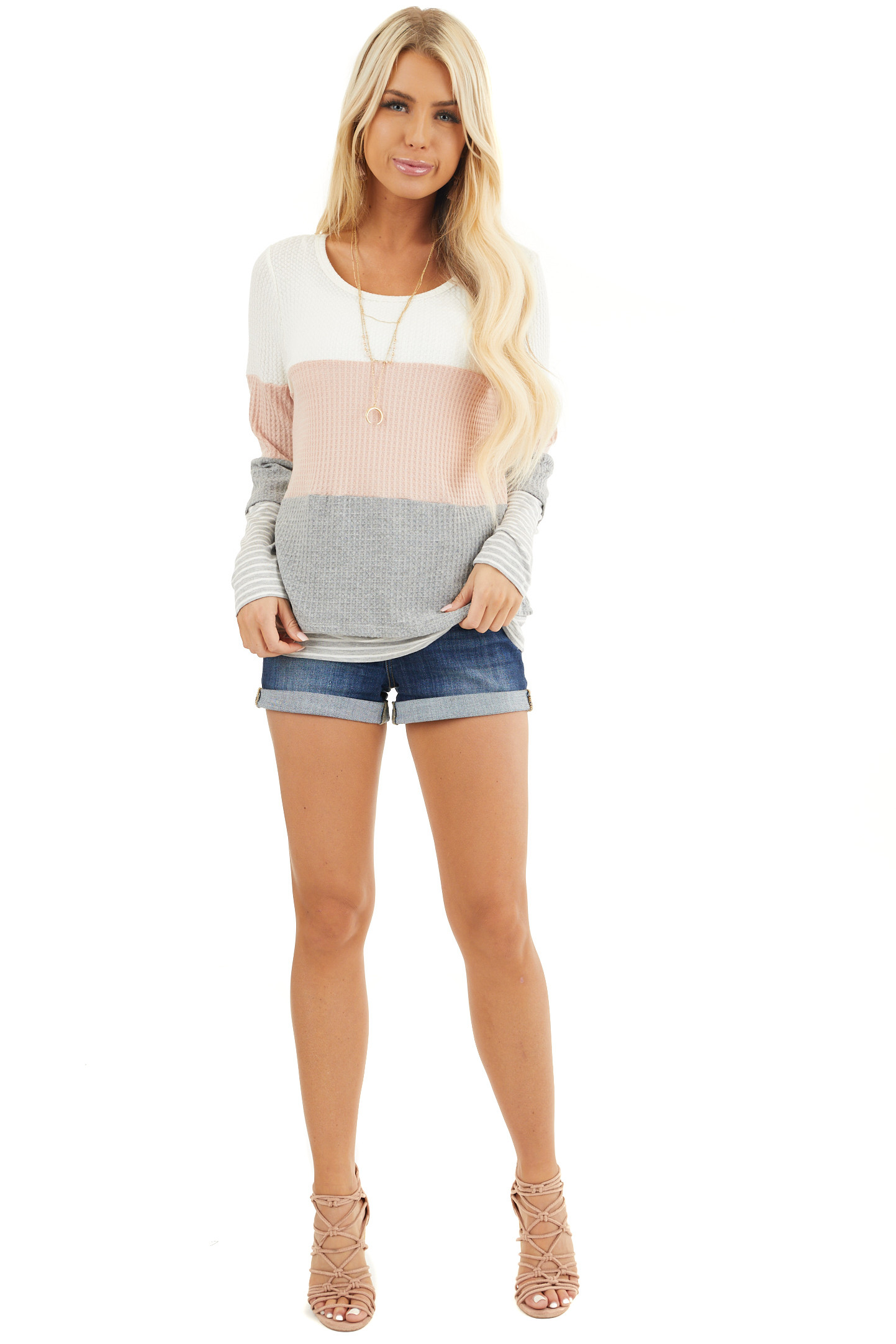 Blush and Heather Grey Colorblock Long Sleeve Top front full body