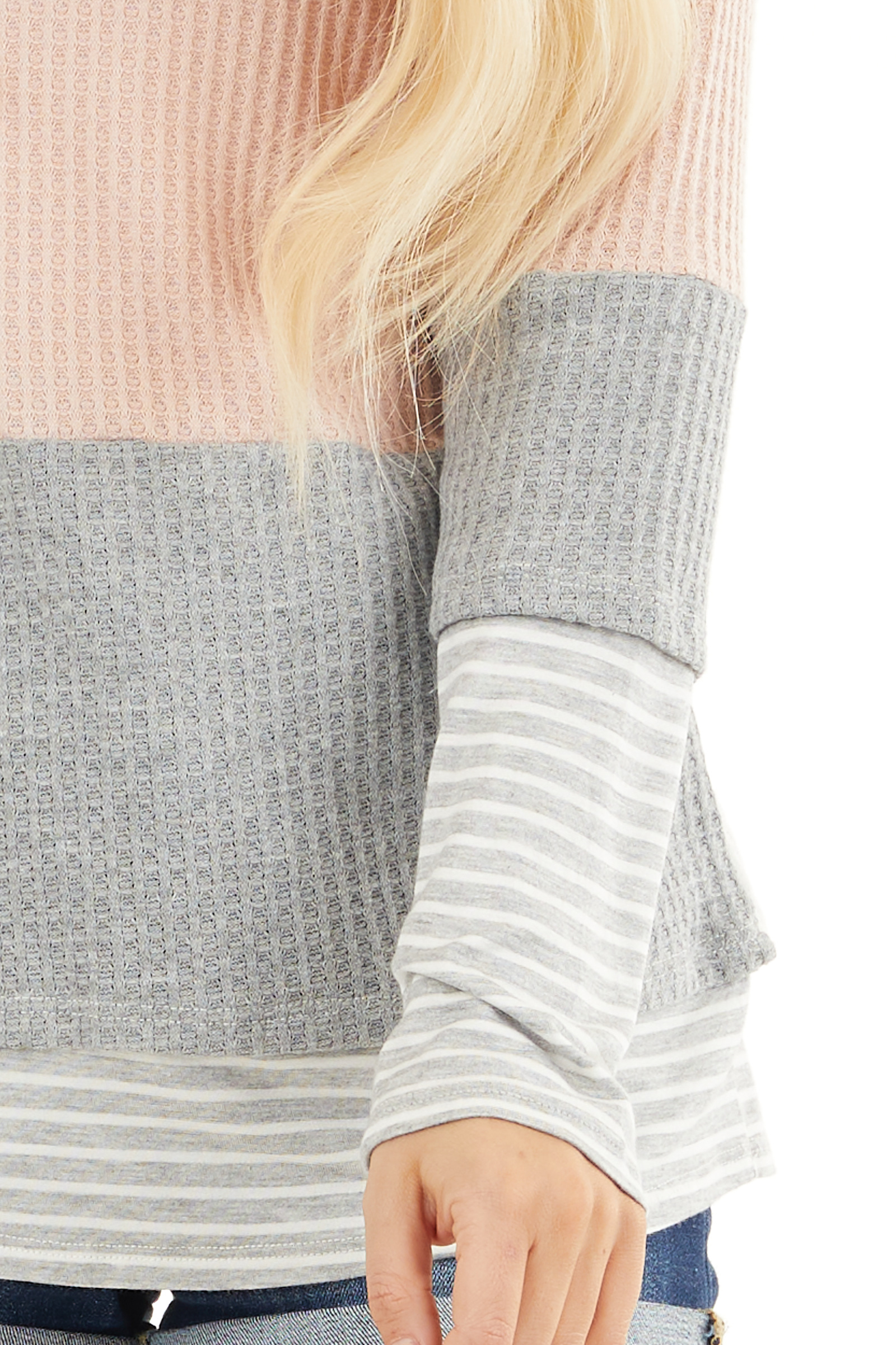 Blush and Heather Grey Colorblock Long Sleeve Top detail