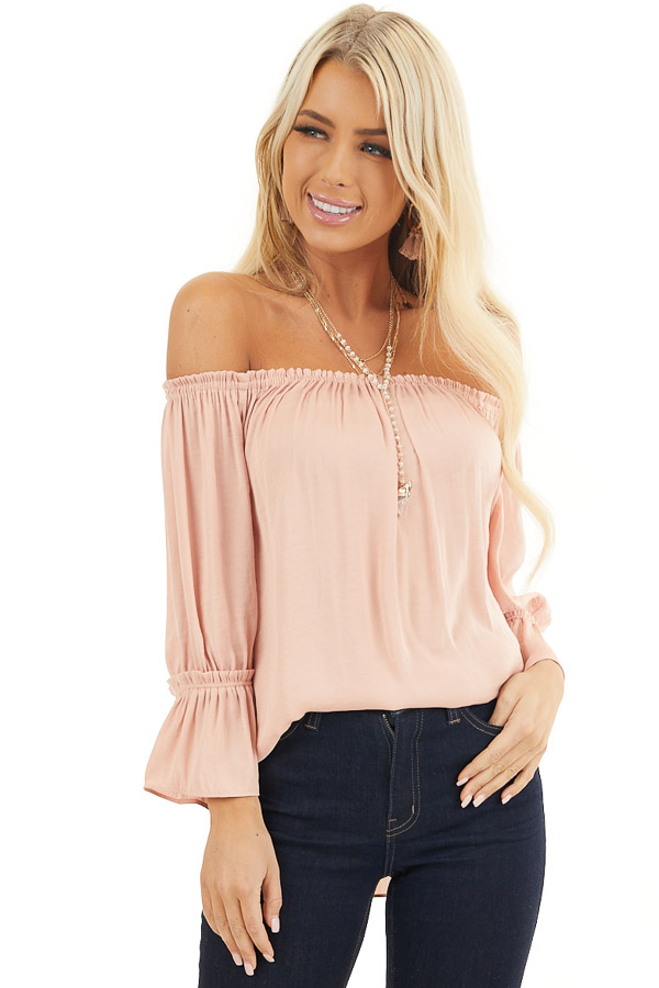 Blush Silky Off the Shoulder Blouse with 3/4 Bell Sleeves front close up
