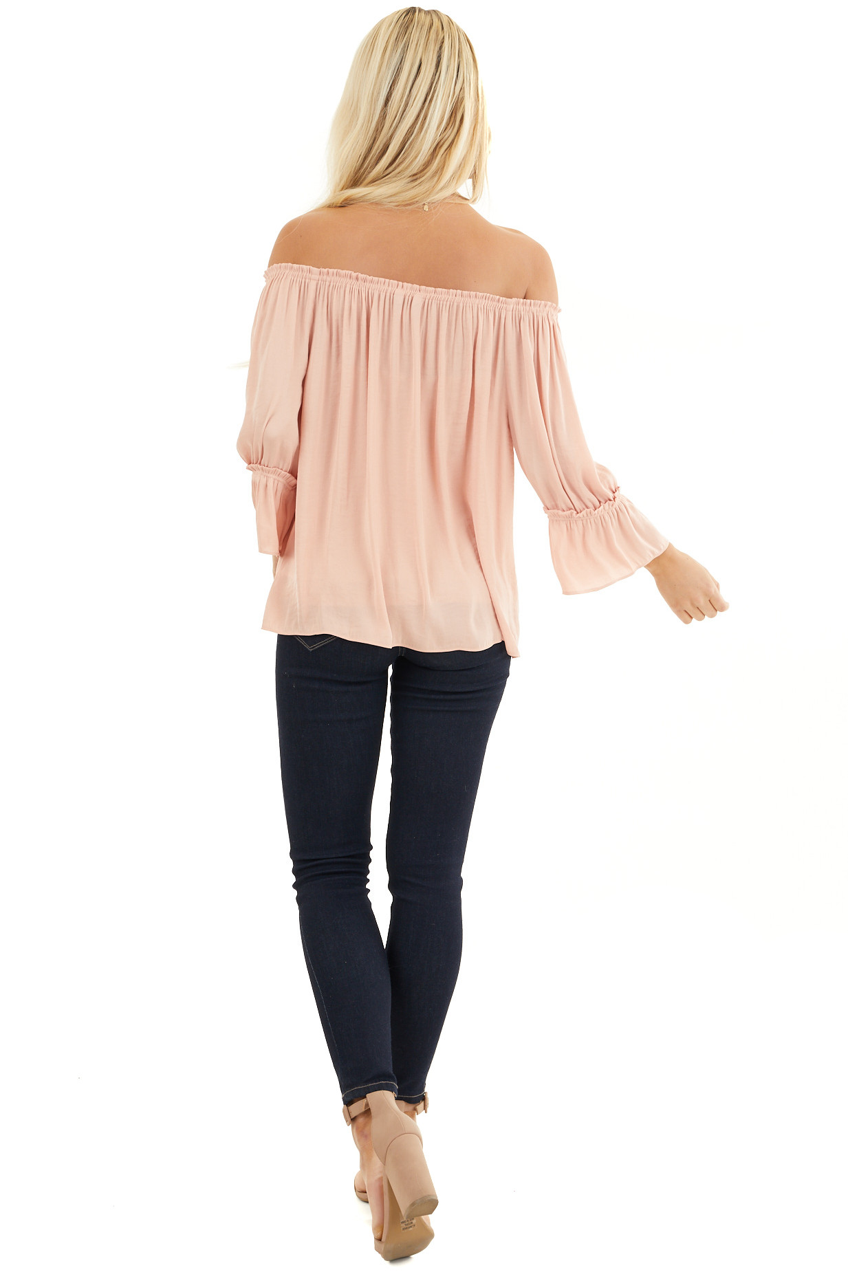 Blush Silky Off the Shoulder Blouse with 3/4 Bell Sleeves back full body