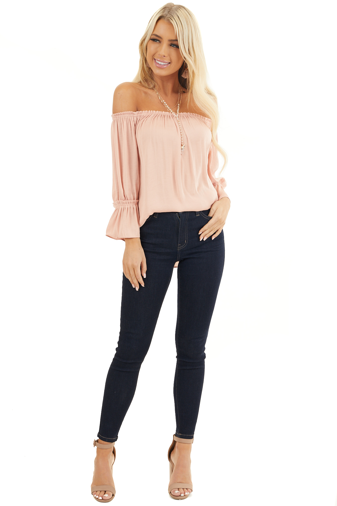 Blush Silky Off the Shoulder Blouse with 3/4 Bell Sleeves front full body