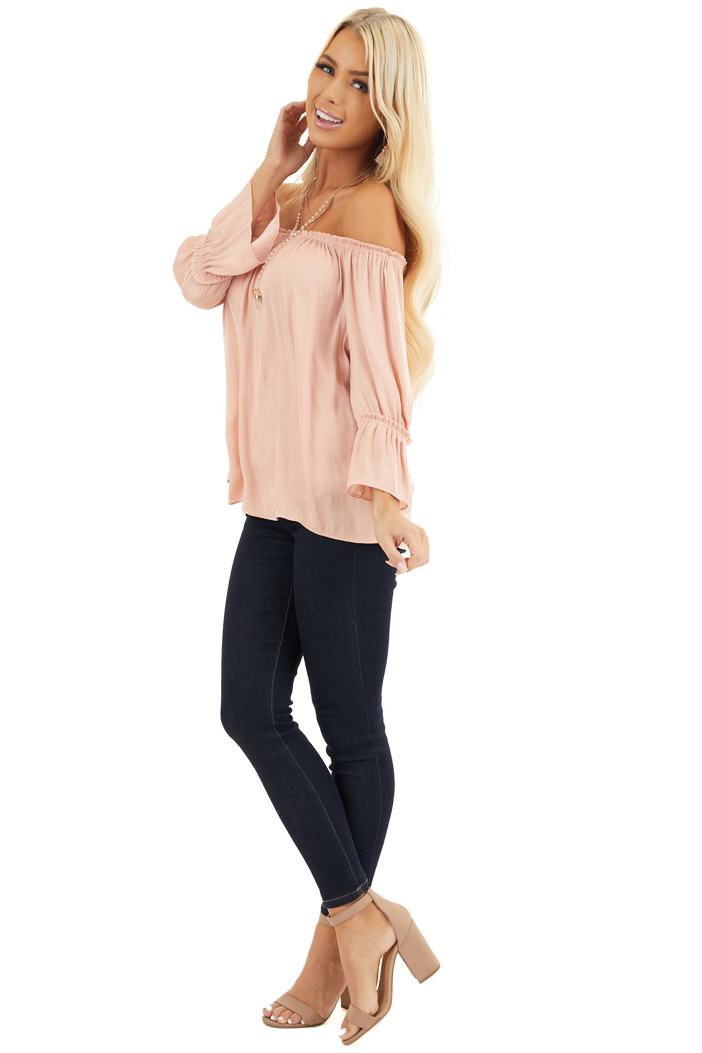 Blush Silky Off the Shoulder Blouse with 3/4 Bell Sleeves side full body
