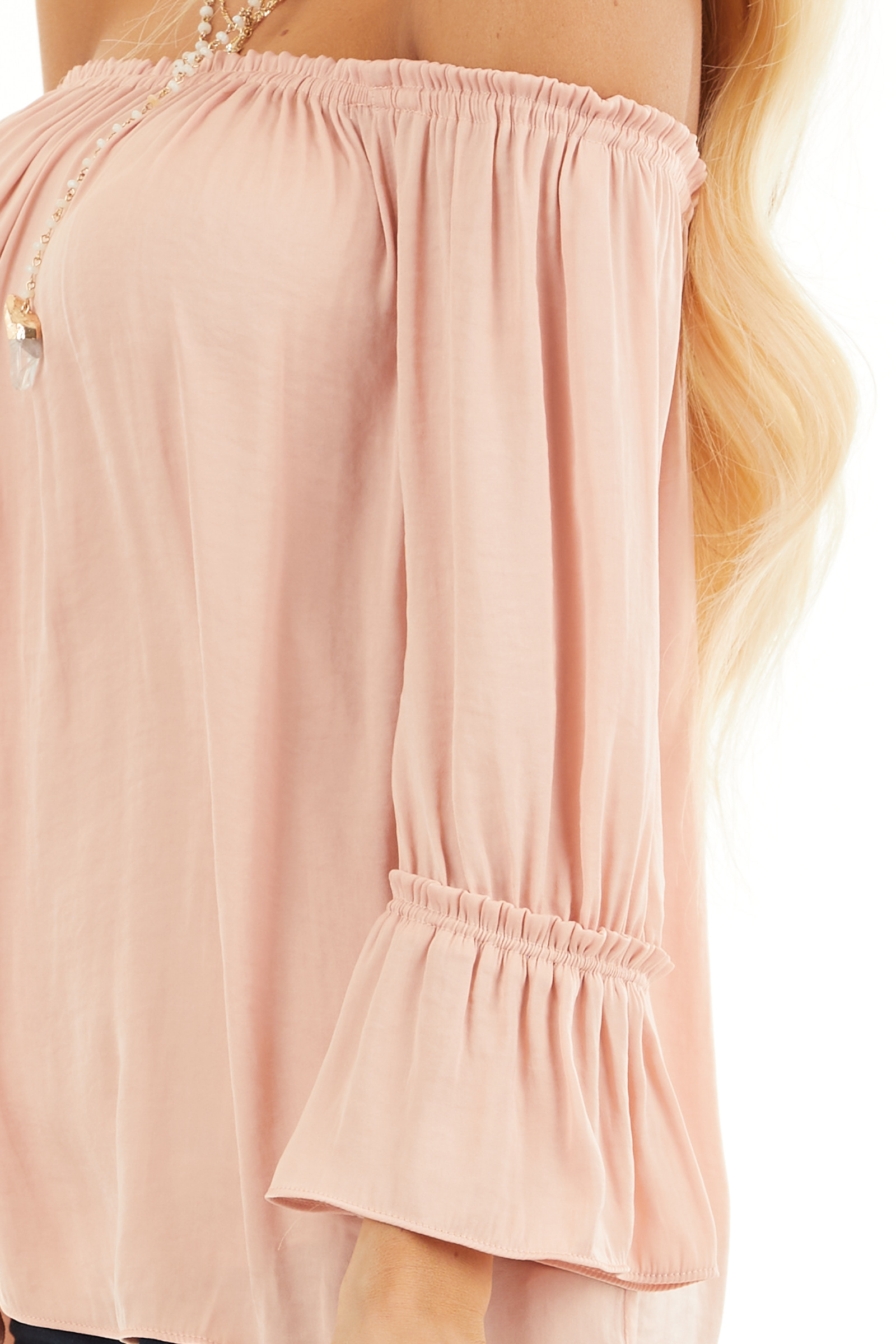 Blush Silky Off the Shoulder Blouse with 3/4 Bell Sleeves detail
