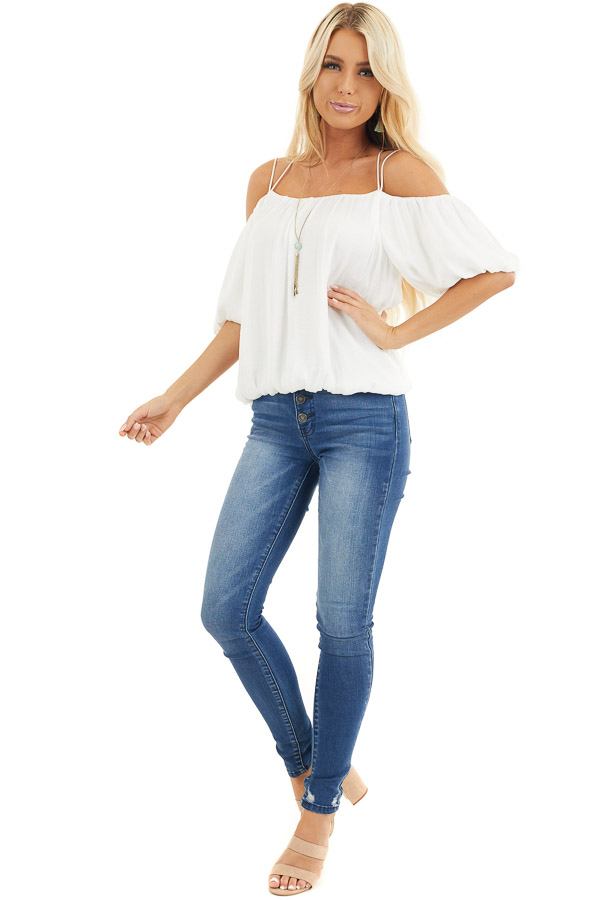 Off White Cold Shoulder Short Bubble Sleeve Blouse front full body