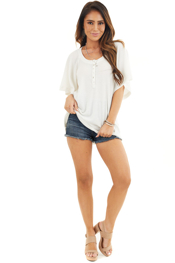 Off White Waffle Knit Henley Top with Short Flutter Sleeves front full body