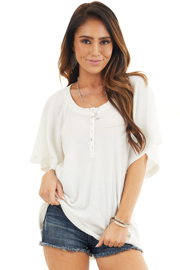 Off White Waffle Knit Henley Top with Short Flutter Sleeves front close up