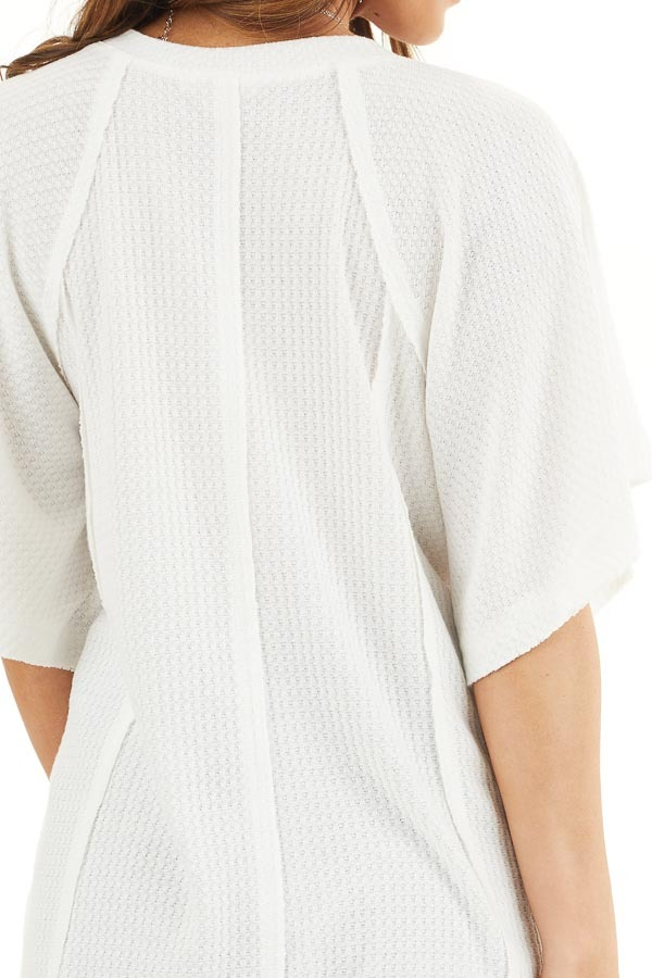 Off White Waffle Knit Henley Top with Short Flutter Sleeves detail