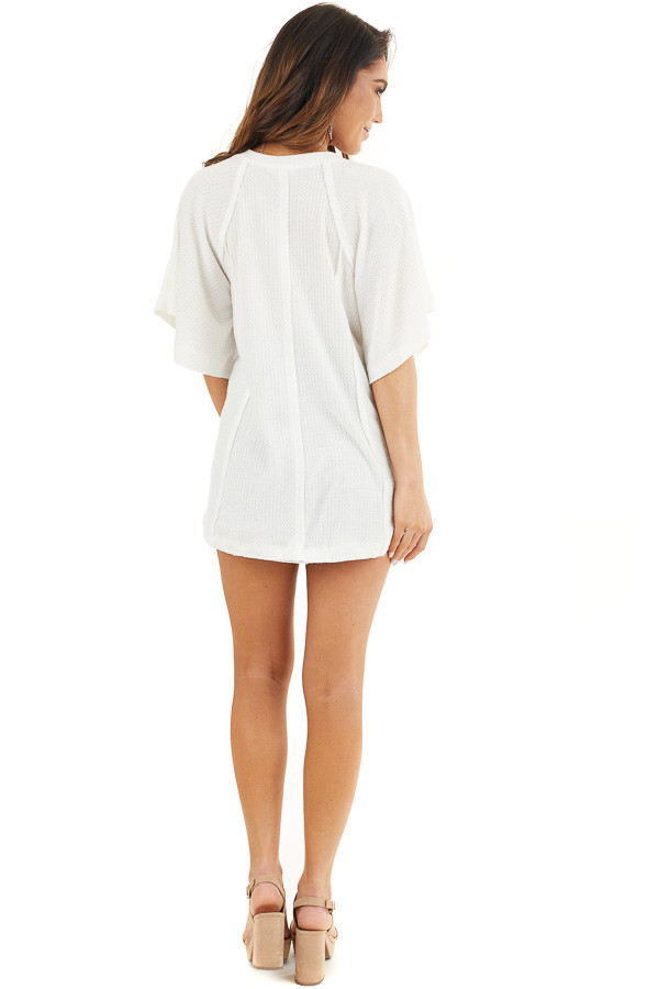 Off White Waffle Knit Henley Top with Short Flutter Sleeves back full body