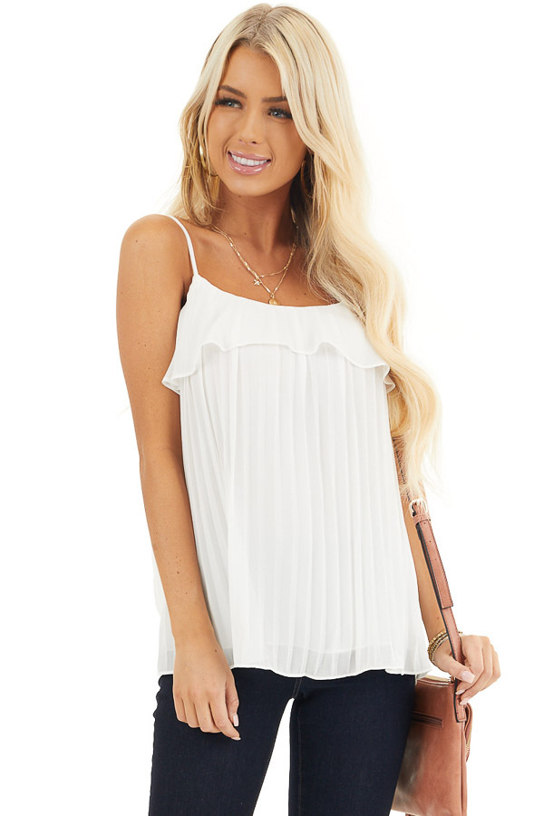 Off White Pleated Tank Top Blouse with Ruffled Neckline front close up