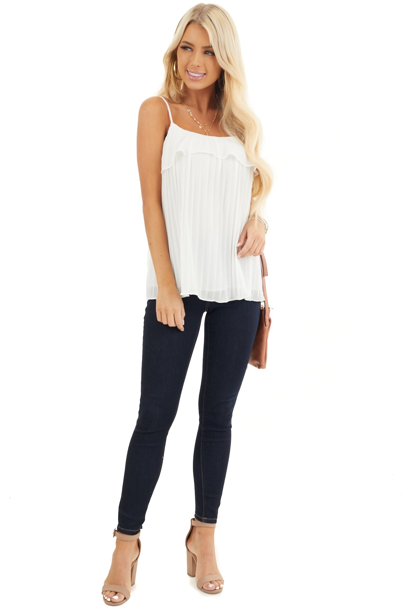 Off White Pleated Tank Top Blouse with Ruffled Neckline front full body