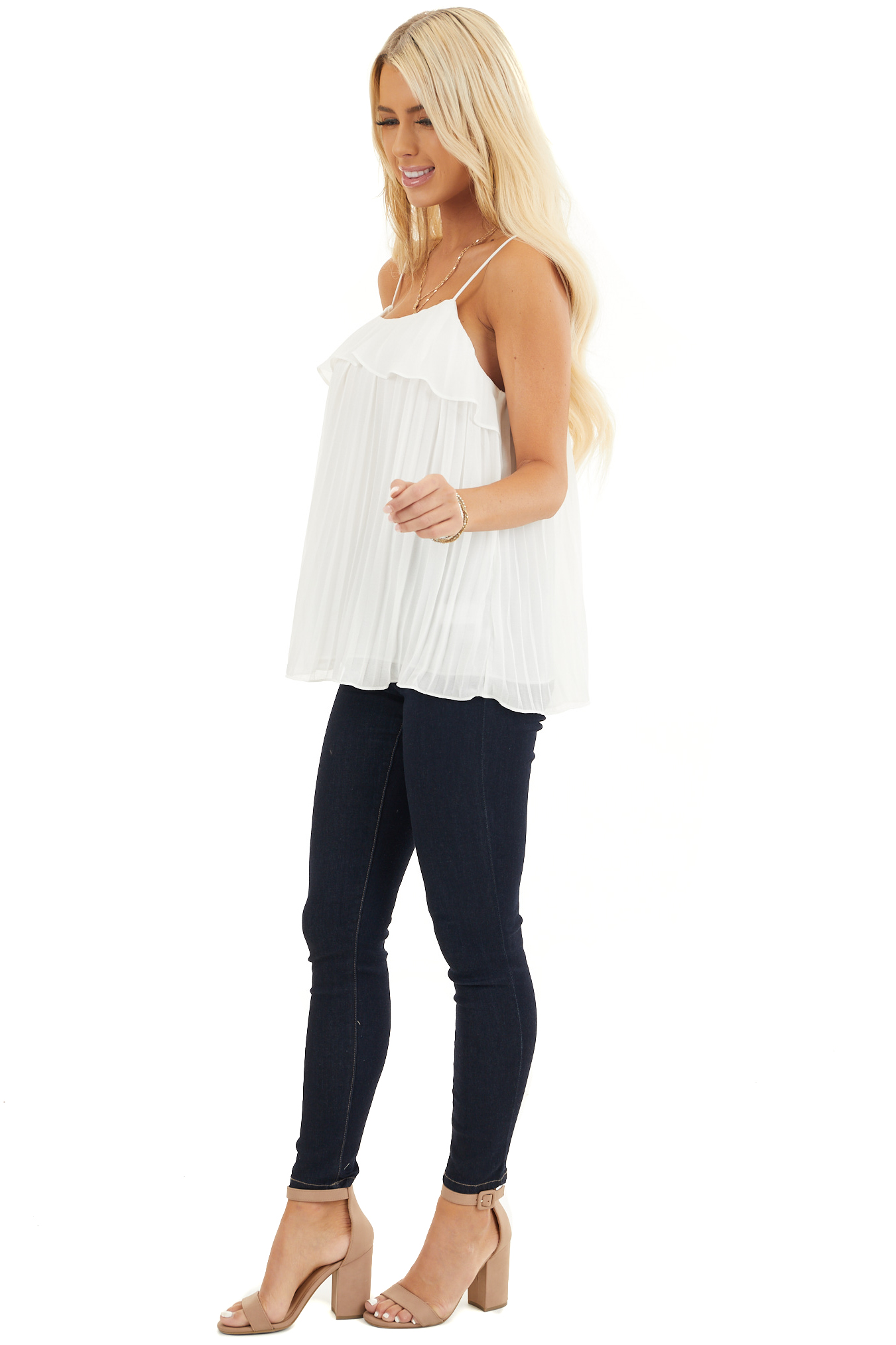 Off White Pleated Tank Top Blouse with Ruffled Neckline side full body