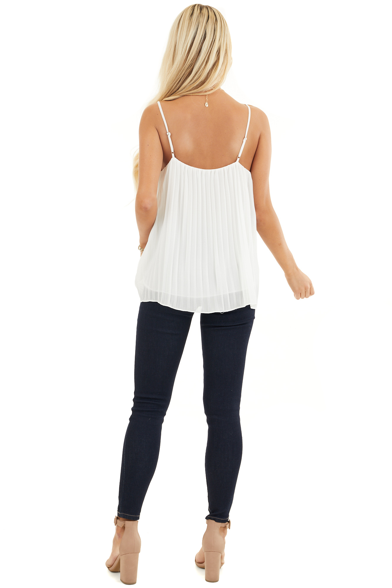 Off White Pleated Tank Top Blouse with Ruffled Neckline back full body