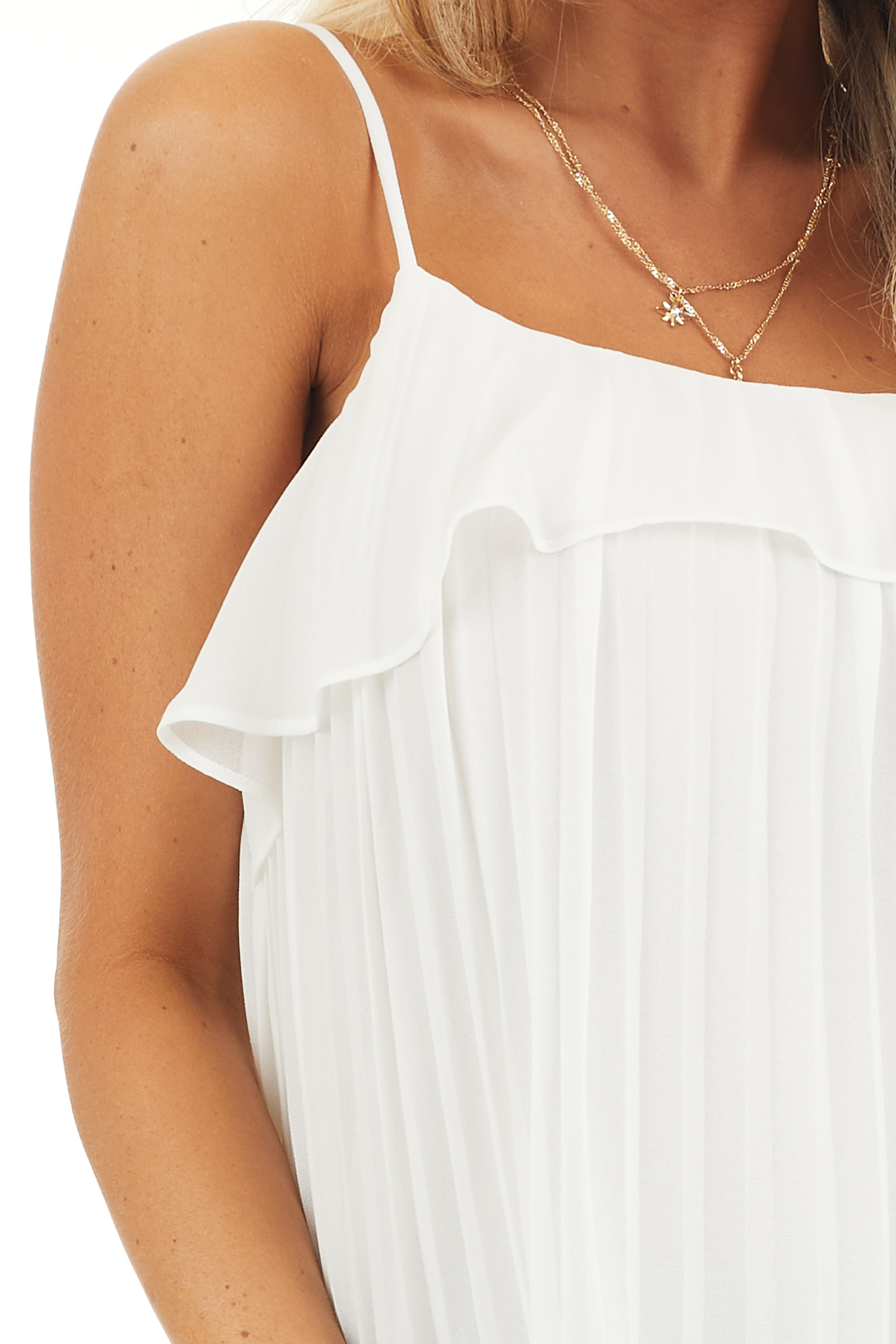 Off White Pleated Tank Top Blouse with Ruffled Neckline detail