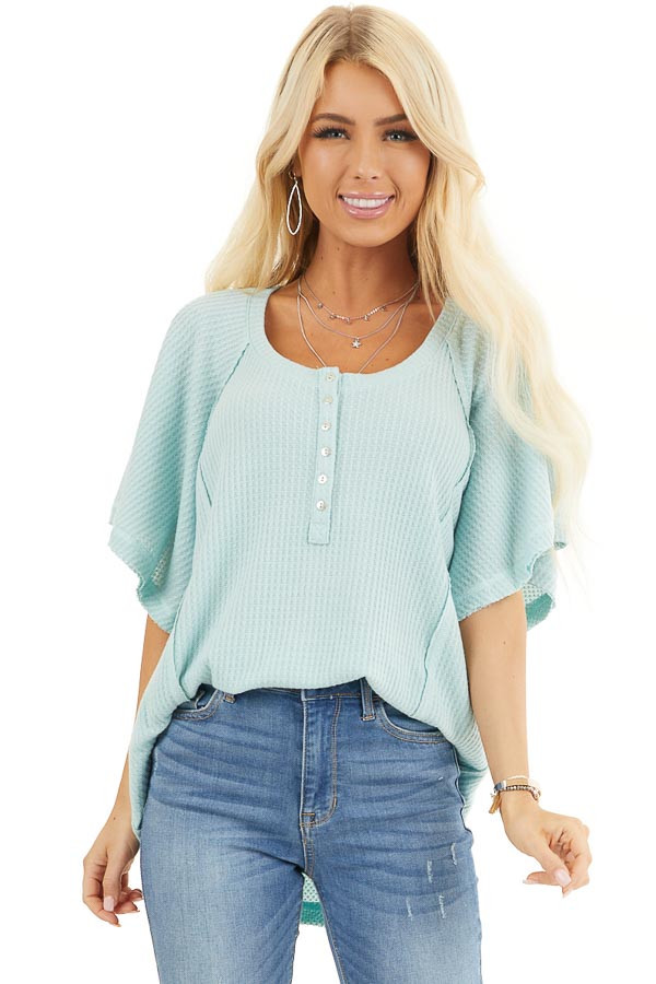 Sage Green Waffle Knit Henley Top with Short Flutter Sleeves front close up