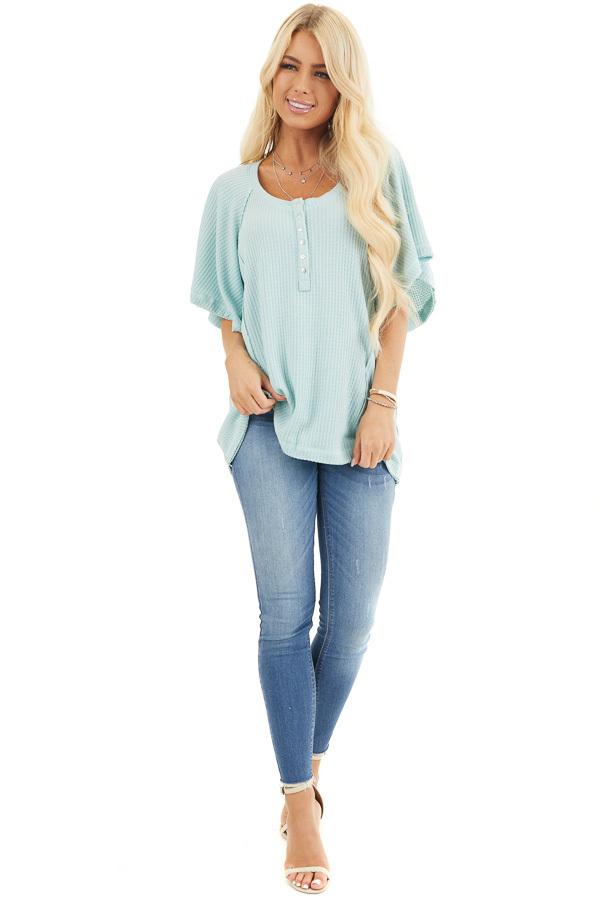 Sage Green Waffle Knit Henley Top with Short Flutter Sleeves front full body
