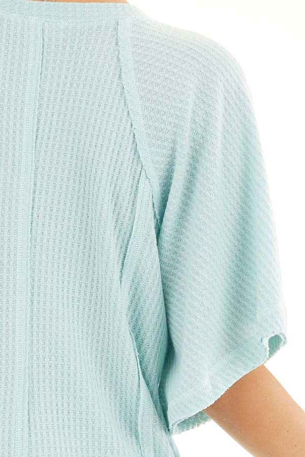 Sage Green Waffle Knit Henley Top with Short Flutter Sleeves detail