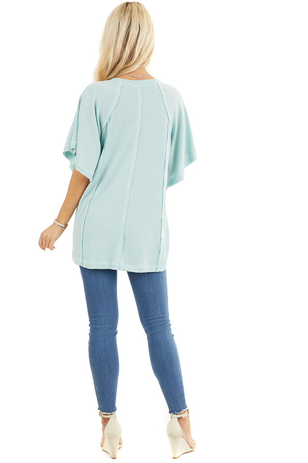 Sage Green Waffle Knit Henley Top with Short Flutter Sleeves back full body