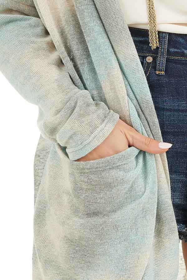 Sage and Oatmeal Tie Dye Cardigan with Side Pockets detail