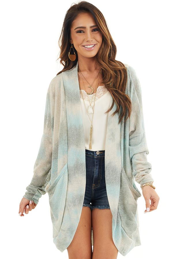 Sage and Oatmeal Tie Dye Cardigan with Side Pockets front close up