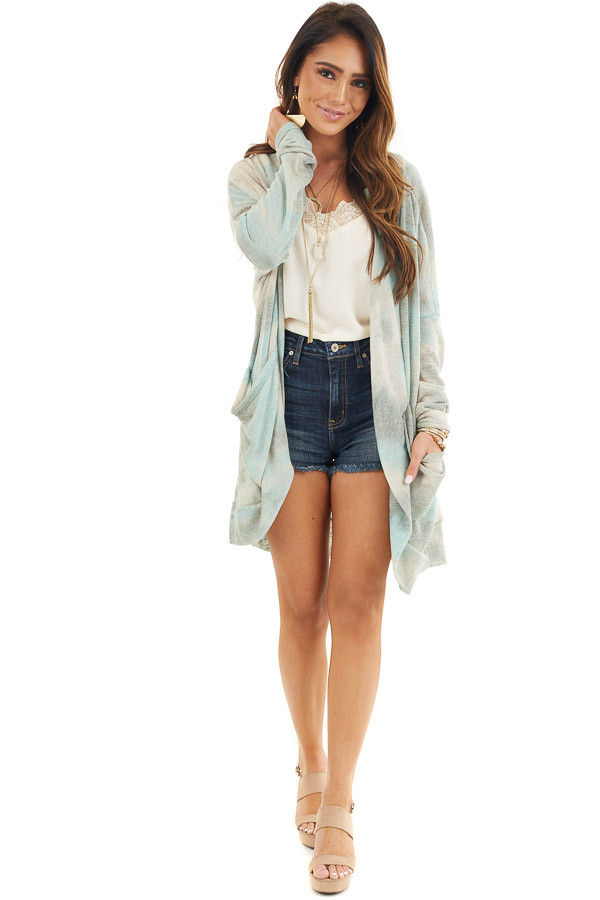 Sage and Oatmeal Tie Dye Cardigan with Side Pockets front full body