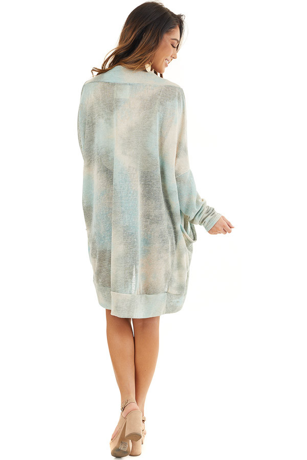 Sage and Oatmeal Tie Dye Cardigan with Side Pockets back full body