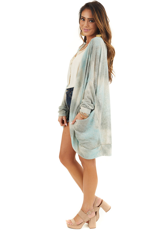 Sage and Oatmeal Tie Dye Cardigan with Side Pockets side full body