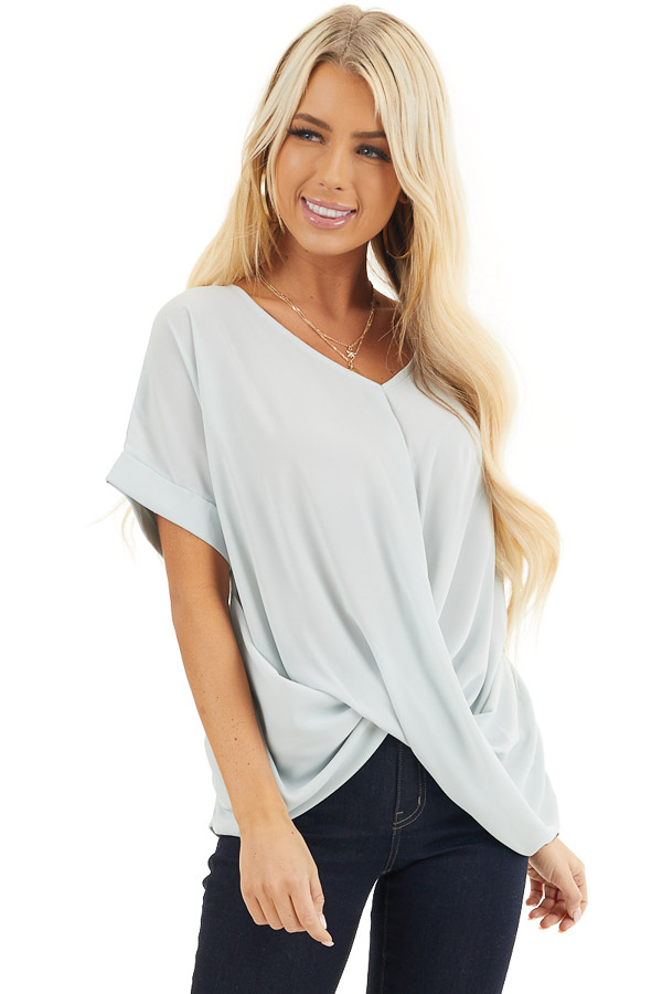 Light Sage V Neck Top with Short Sleeves and Front Twist front close up