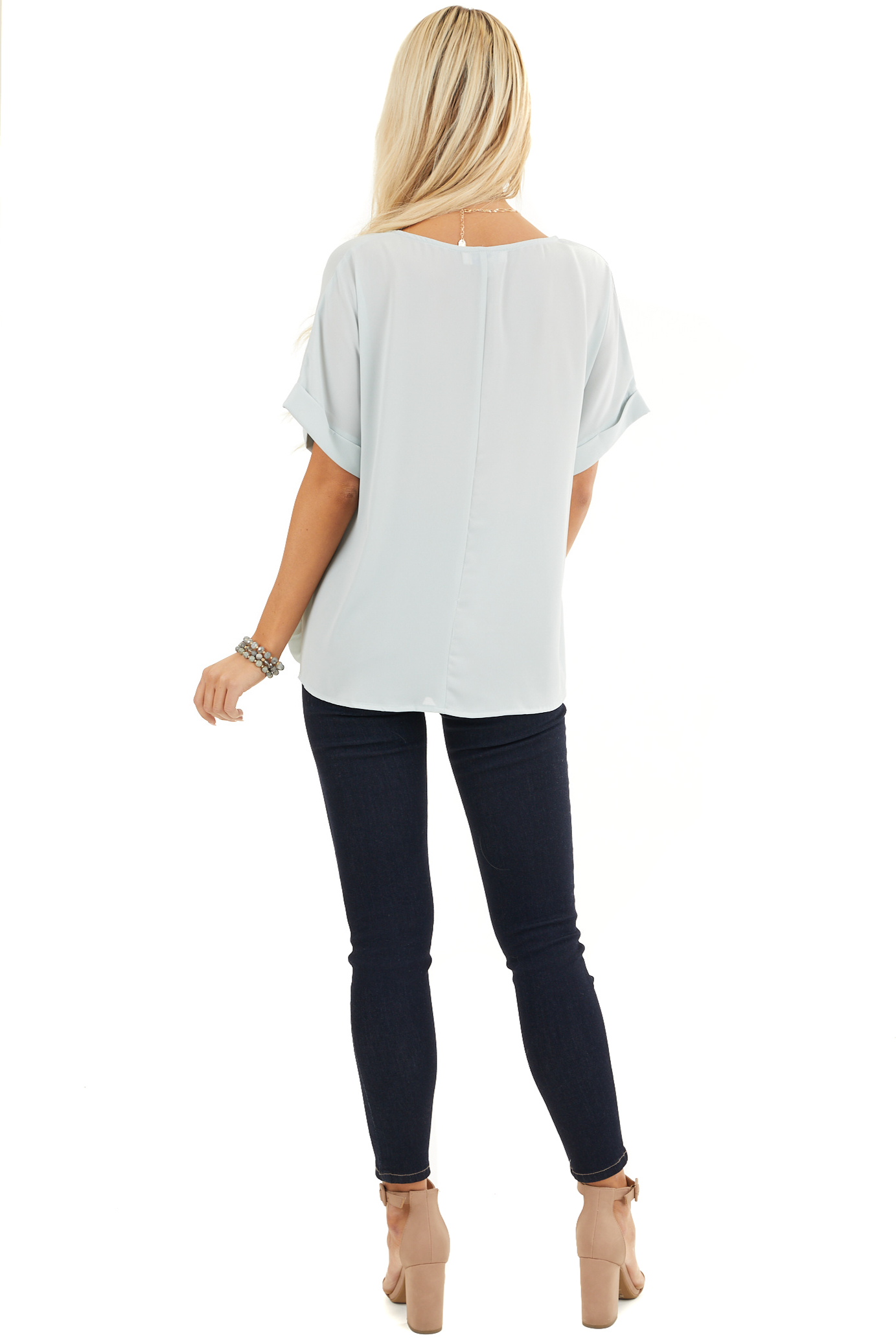 Light Sage V Neck Top with Short Sleeves and Front Twist back full body