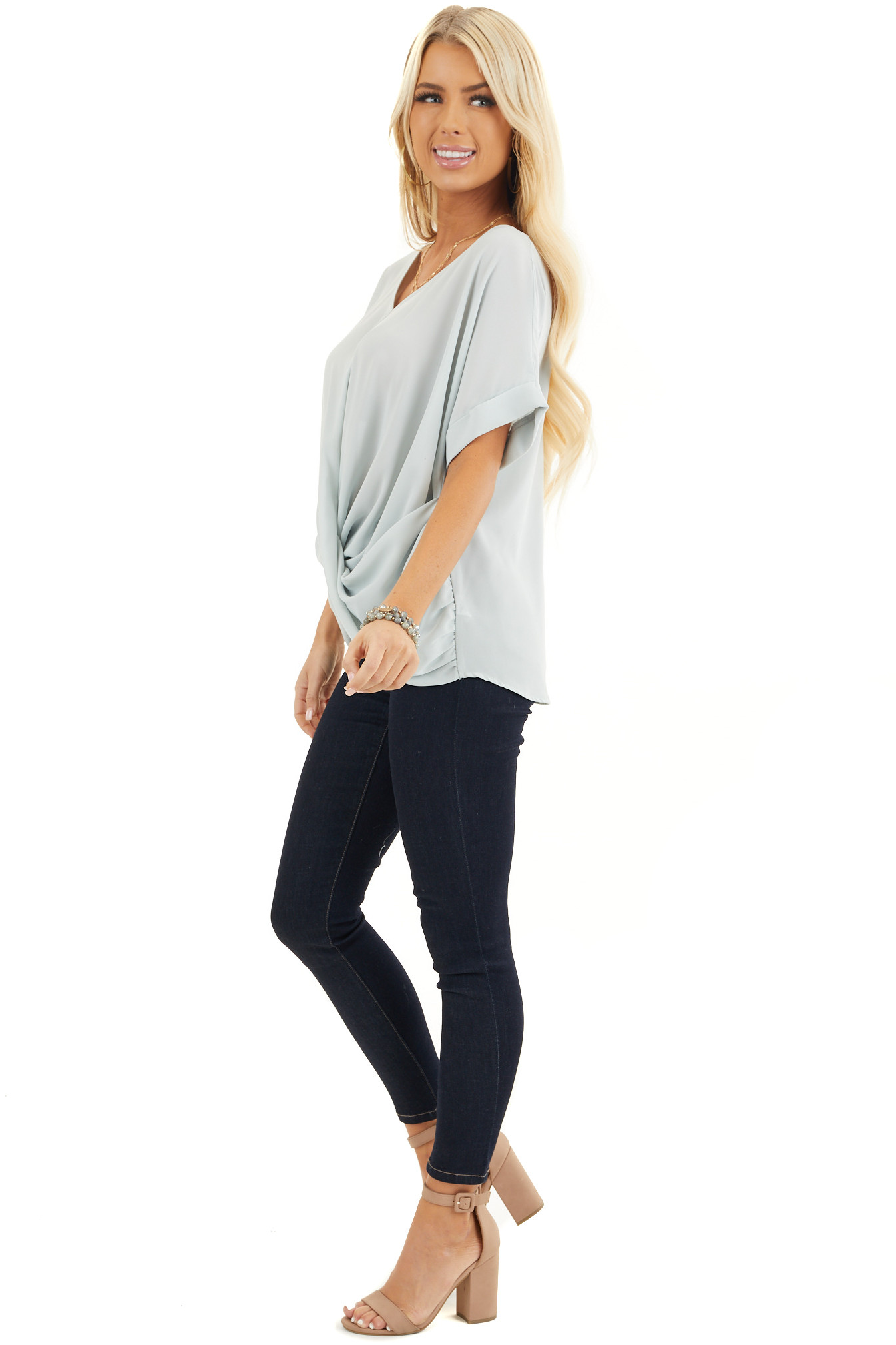 Light Sage V Neck Top with Short Sleeves and Front Twist side full body