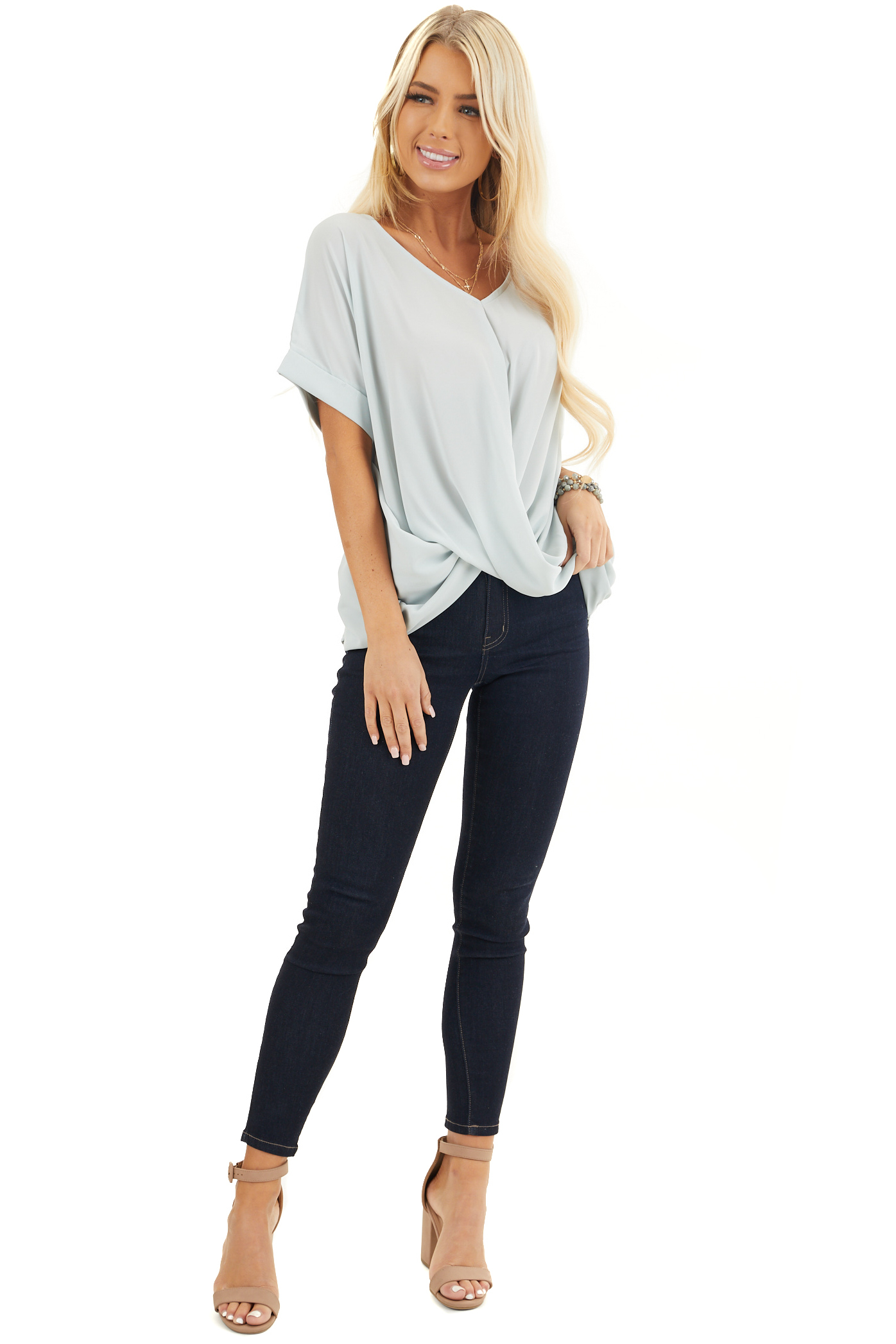 Light Sage V Neck Top with Short Sleeves and Front Twist front full body