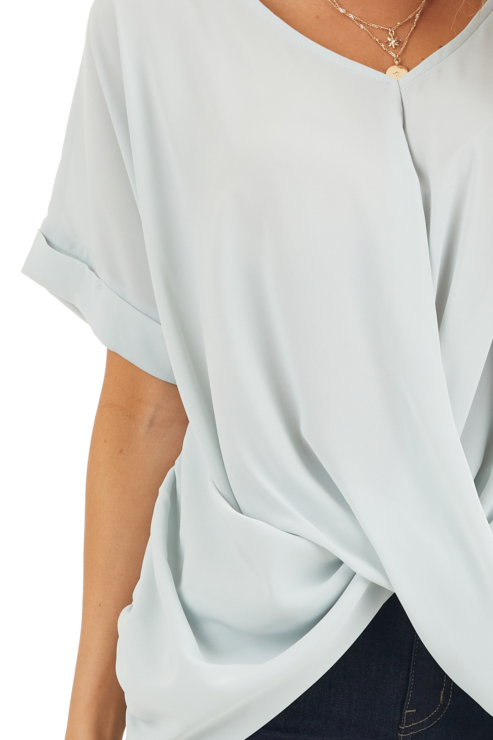 Light Sage V Neck Top with Short Sleeves and Front Twist detail