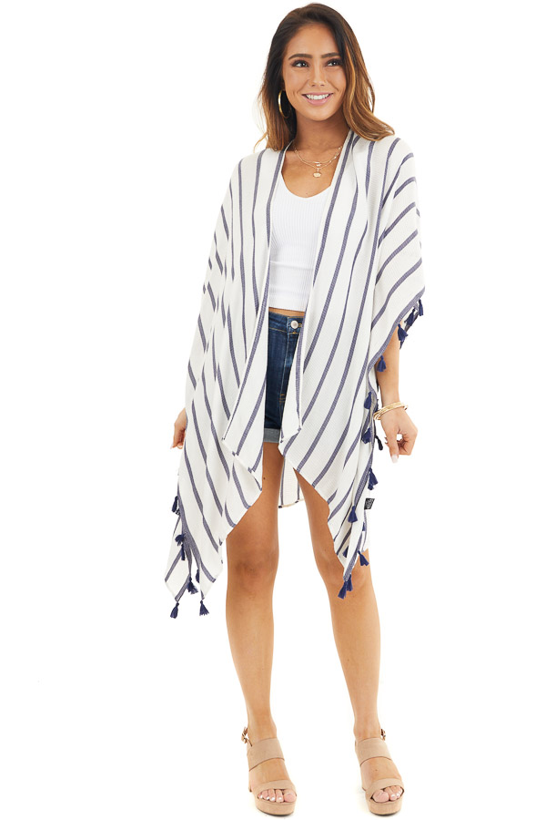 White and Navy Striped Kimono with Tassel Details front full body