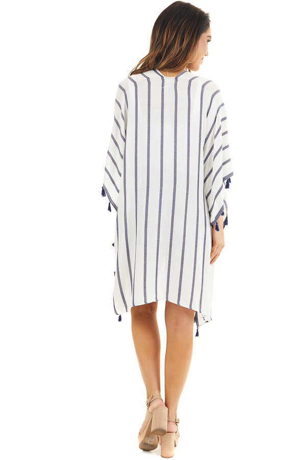 White and Navy Striped Kimono with Tassel Details back full body