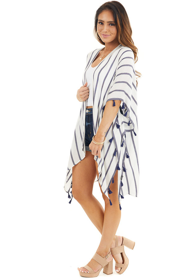 White and Navy Striped Kimono with Tassel Details side full body