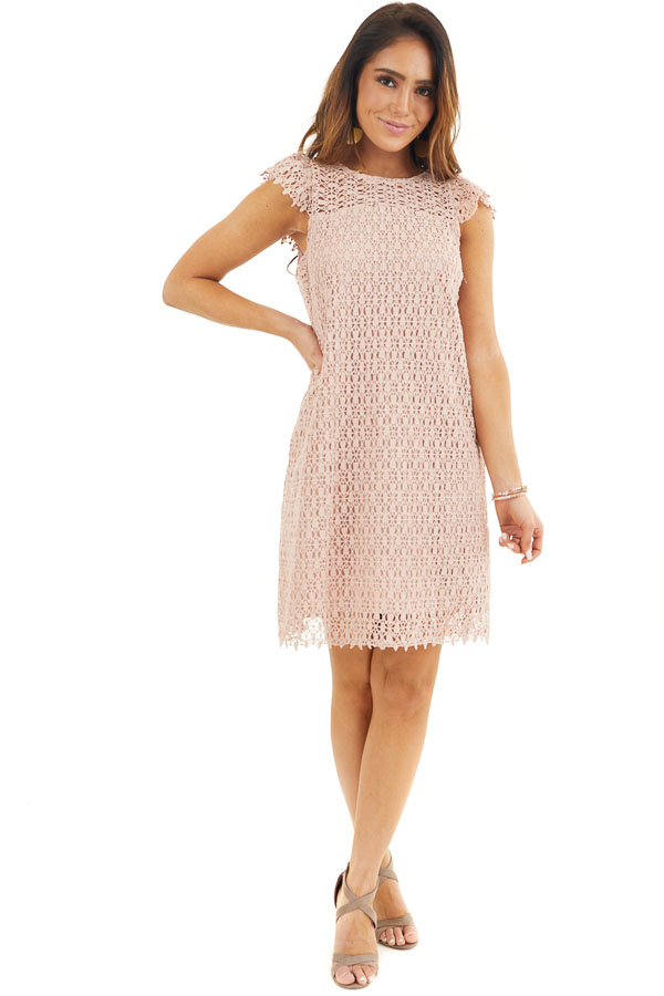 Dusty Blush Crochet Lace Shift Dress with Short Sleeves front full body