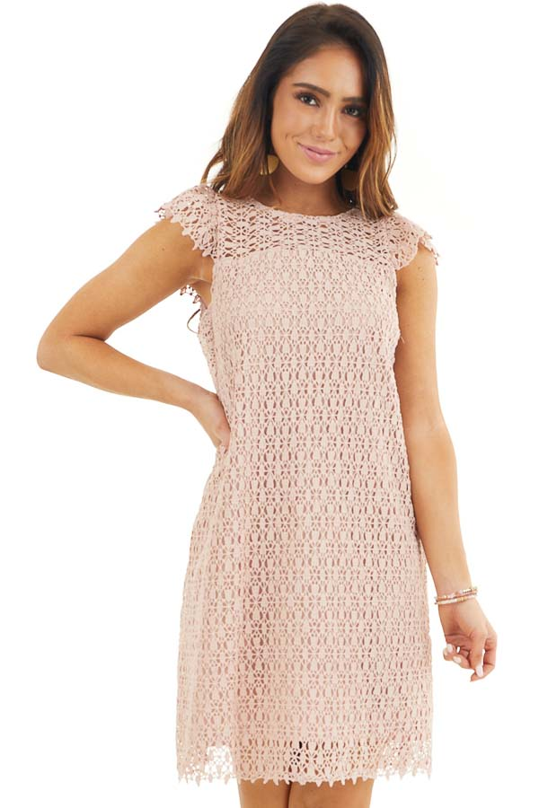 Dusty Blush Crochet Lace Shift Dress with Short Sleeves front close up