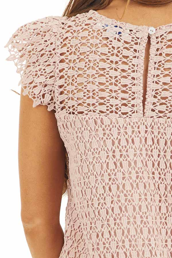 Dusty Blush Crochet Lace Shift Dress with Short Sleeves detail