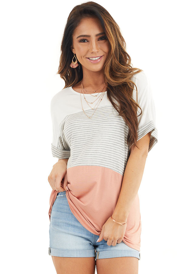 White and Salmon Striped Short Sleeve Knit Top front close up