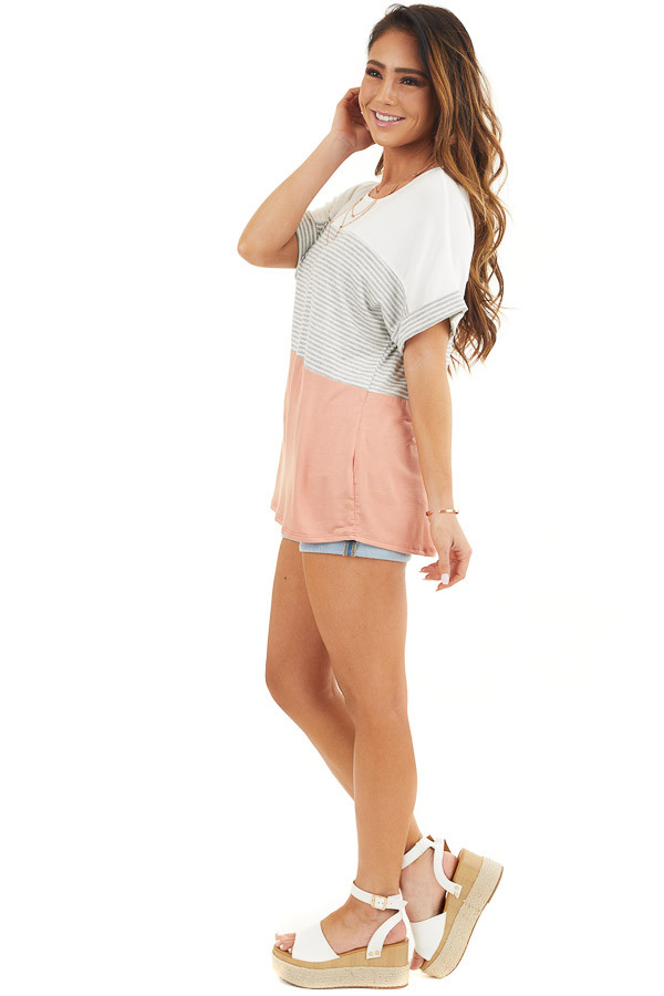 White and Salmon Striped Short Sleeve Knit Top side full body