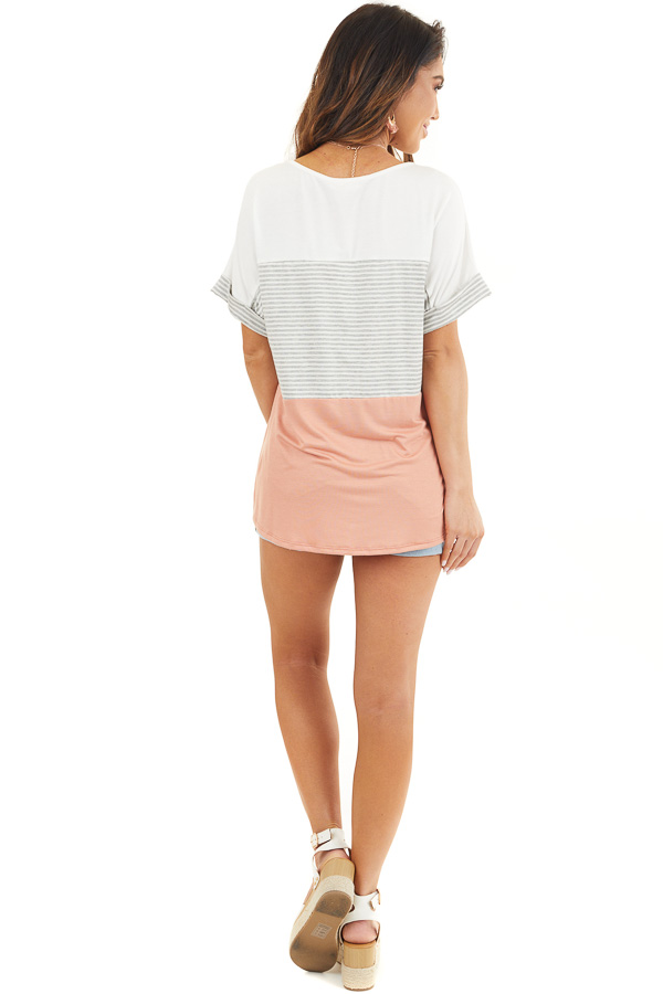 White and Salmon Striped Short Sleeve Knit Top back full body