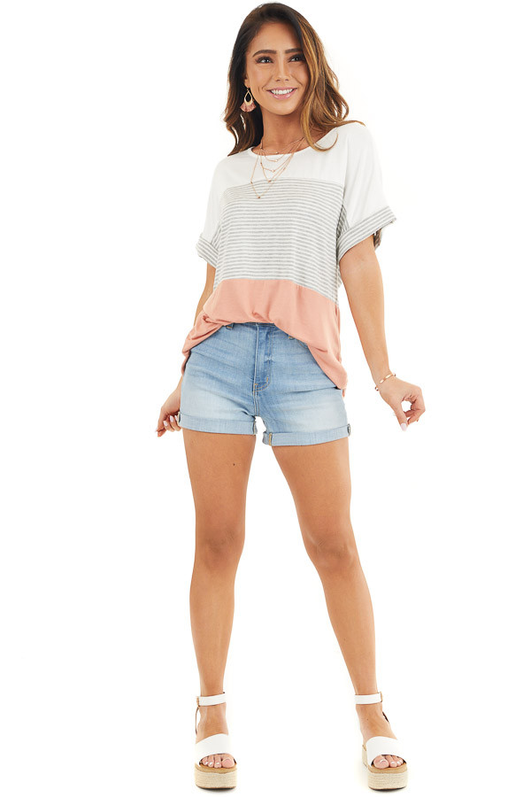 White and Salmon Striped Short Sleeve Knit Top front full body