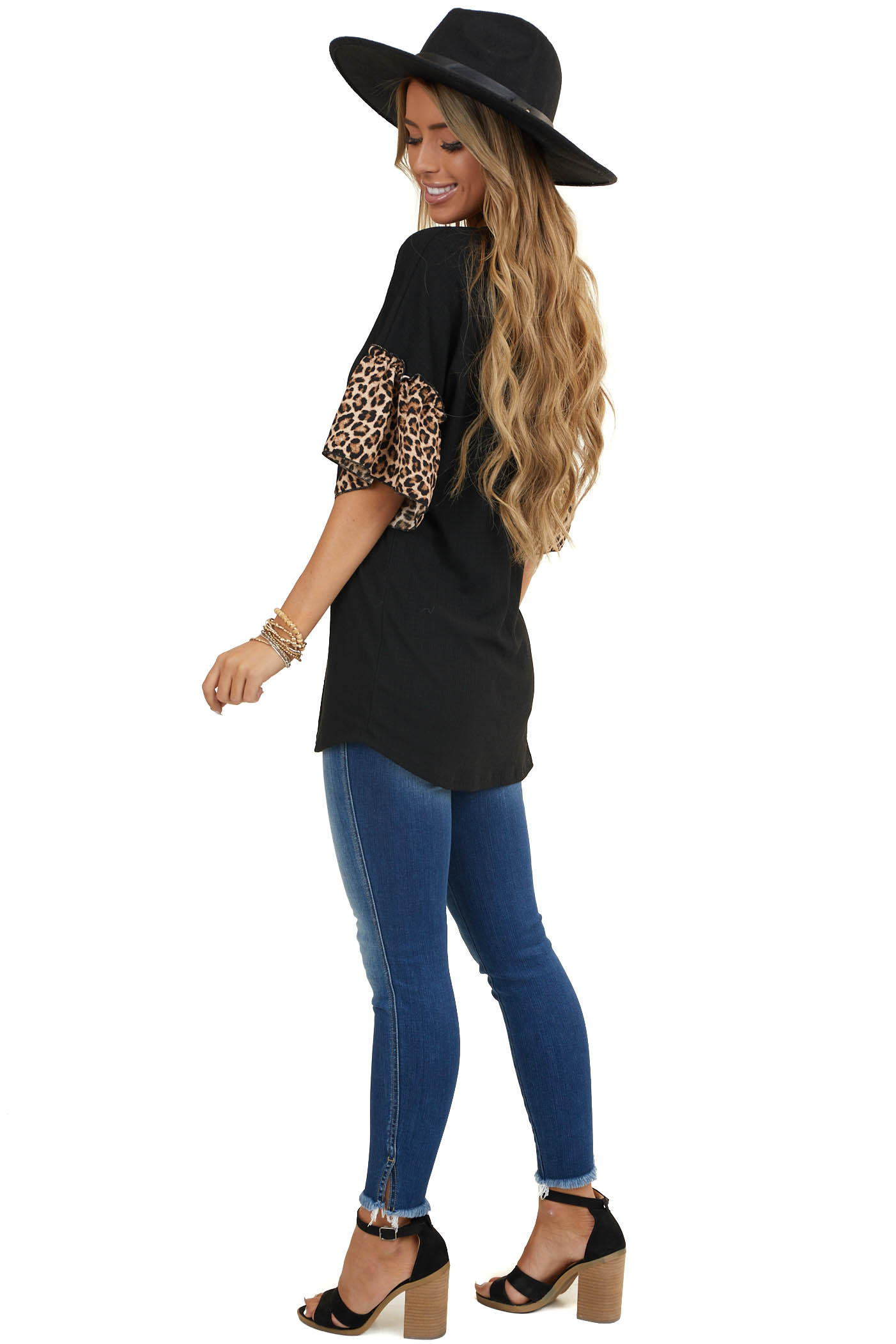 Black Ribbed Tee with Short Ruffle Leopard Print Sleeves