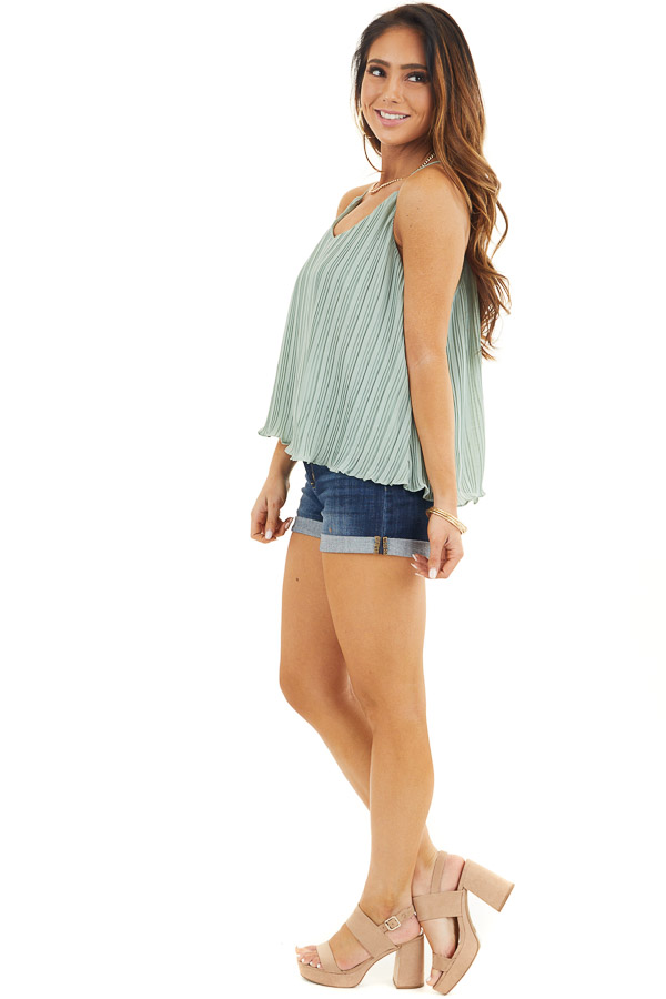 Sage Green Pleated Tank Top with Scalloped Hemline side full body