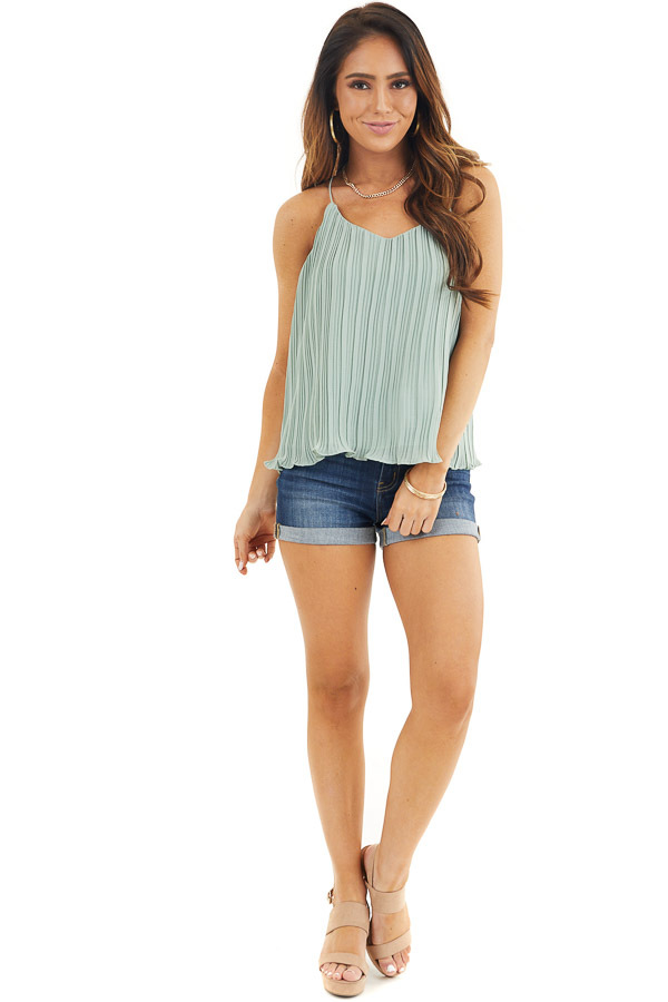 Sage Green Pleated Tank Top with Scalloped Hemline front full body
