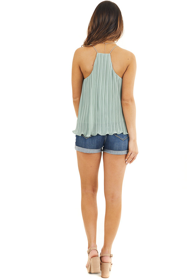 Sage Green Pleated Tank Top with Scalloped Hemline back full body