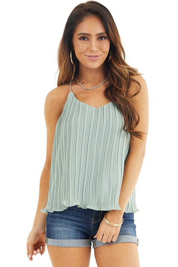 Sage Green Pleated Tank Top with Scalloped Hemline front close up