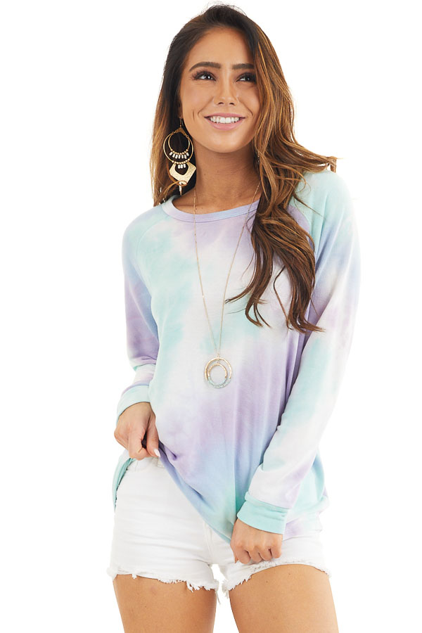 Multicolored Tie Dye Long Sleeve Knit Top front close up