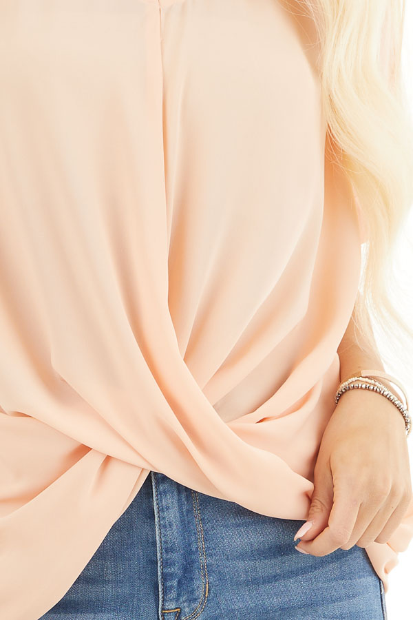 Peach Lightweight Chiffon V Neck Blouse with Twist Detail detail