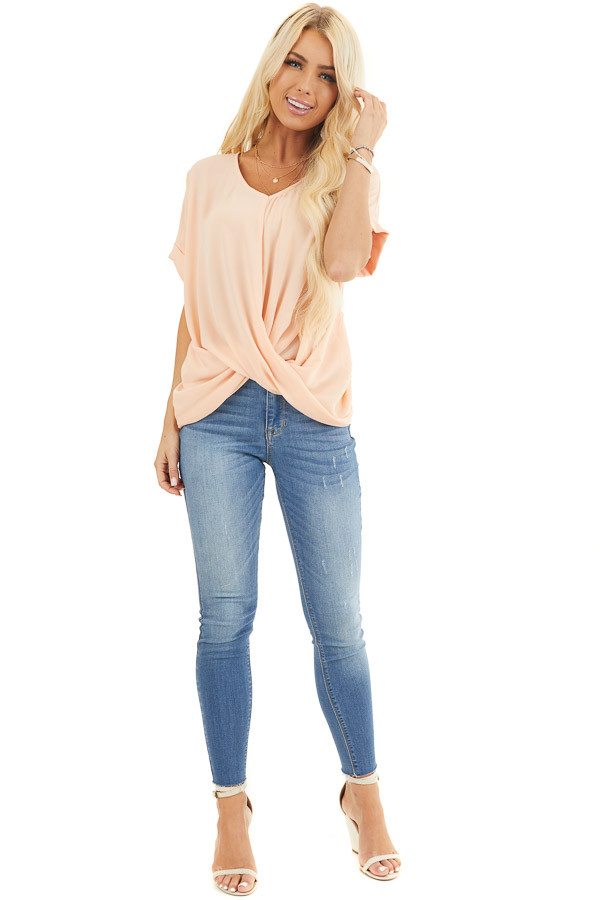 Peach Lightweight Chiffon V Neck Blouse with Twist Detail front full body